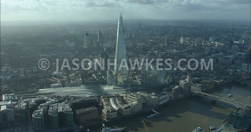 London Aerial footage, The Shard and London Bridge.
