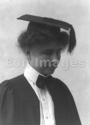 Helen Keller wearing commencement cap and gown