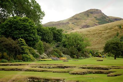 Monastery Ruins at Holyroodhouse with Arthur's Seat in the Background