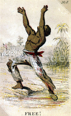 Card depicting slave reaching freedom