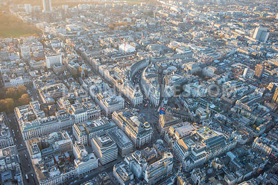Aerial view of London, Regent Street and Piccadilly.