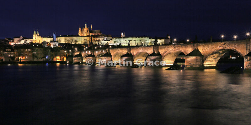 Charles Bridge (1357) over Vltava River, with St Vitus's Cathedral within Prague Castle beyond, Prague, Czech Republic - 2:1 panoramic format