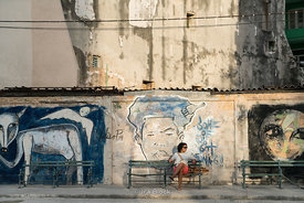 Murals along the Paseo del Prado in Havana, Cuba.