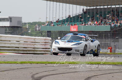 The ISSY Racing Lotus Evora GT4 in action at the Silverstone 500 - the third round of the British GT Championship 2014 - 1st June 2014