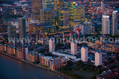 Aerial view over Canary Wharf at night