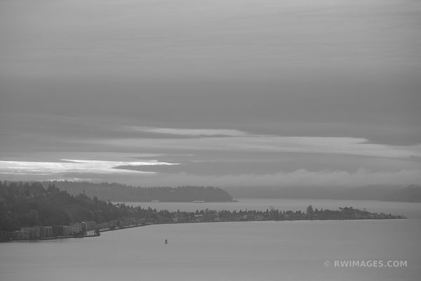 SEATTLE PUGET SOUND COLD WINTER SUNSET BLACK AND WHITE