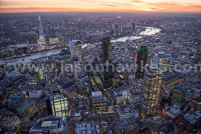 City of London at dusk. Aerial view