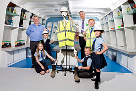 Taylor Wimpey at St Patrick's PS, Dumbarton..4.6.18.Robert McGinney, site mananger at Taylor Wimpey Fairways development, Dumbarton is joined by Health and Safety officer Ian Holden at a visit to St Patrick's primary for a talk on health and safety...Free PR use for Taylor Wimpey..More info and Press Release from:.Hazel Taylor .Red Angel PR (Edinburgh) Ltd .4 Macfie Loan .Colinton .Edinburgh .EH13 0FP .0131 441 9803/07709317289 .hazel.taylor@redangelpr.co.uk..Pictures Copyright: Iain McLean.79 Earlspark Avenue.G43 2HE.07901 604 365.www.iainmclean.com.photomclean@googlemail.com.07901 604 365.ALL RIGHTS RESERVED.NO SYNDICATION.