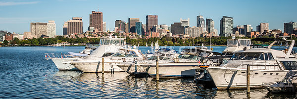 Boston Skyline Charles River Boats Panorama Photo