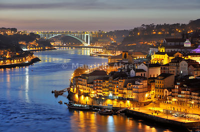 Oporto. Ribeira, a Unesco World Heritage Site at dusk. Portugal