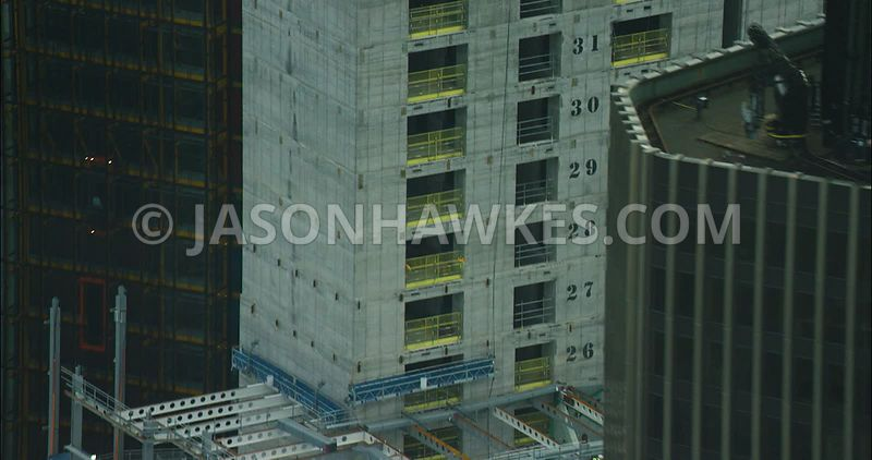 London Aerial footage, 22 Bishopsgate under construction.