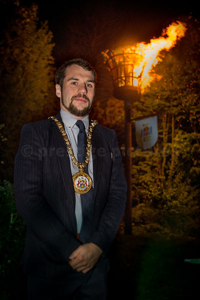 The Mayor of Banbury (2014-15) Cllr Sean Woodcock at the VE Day Beacon in Banbury