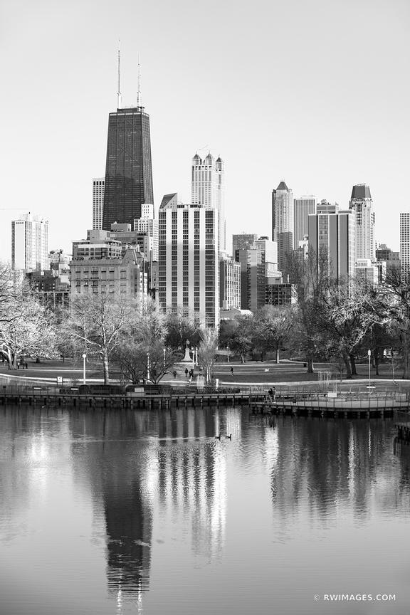 CHICAGO SKYLINE LINCOLN PARK SOUTH POND HANCOCK BUILDING CHICAGO ILLINOIS BLACK AND WHITE VERTICAL