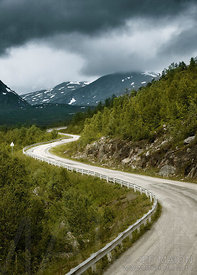 Winding road and mountains