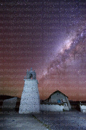 Milky Way galactic core above Guallatiri church belfry, Las Vicuñas National Reserve, Region XV, Chile