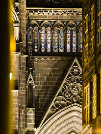 Northern facade of the cathedral at night, Clermont Ferrand