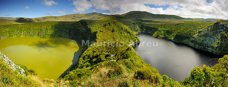 Crater lakes, Caldeira Comprida & Caldeira Funda. Flores, Azores islands, Portugal