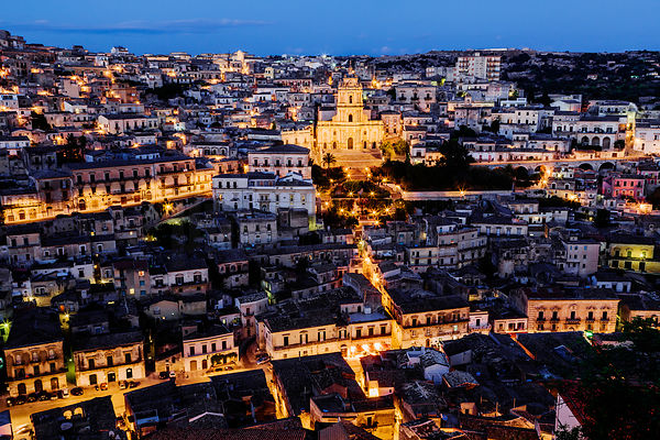 View of Modica and San Giorgio Cathedral (Baroque style)