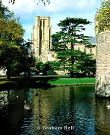 wells cathedral and bishops palace moat somerset south west england