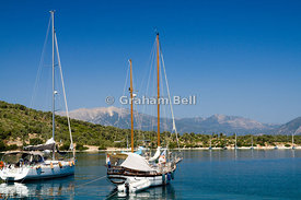 Yachts moored in Atherinos Bay, Katomeri, Meganisi Island, Lefkas, Ionian Islands, Greece.