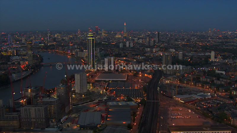 Aerial footage of St George Wharf Tower and the regeneration at Nine Elms
