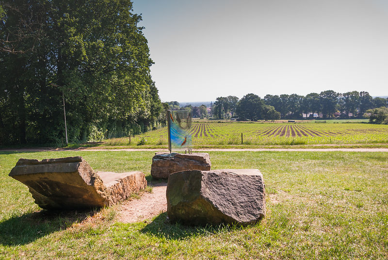 Landscape Kuiperberg Twente with monument Willem Wilmink
