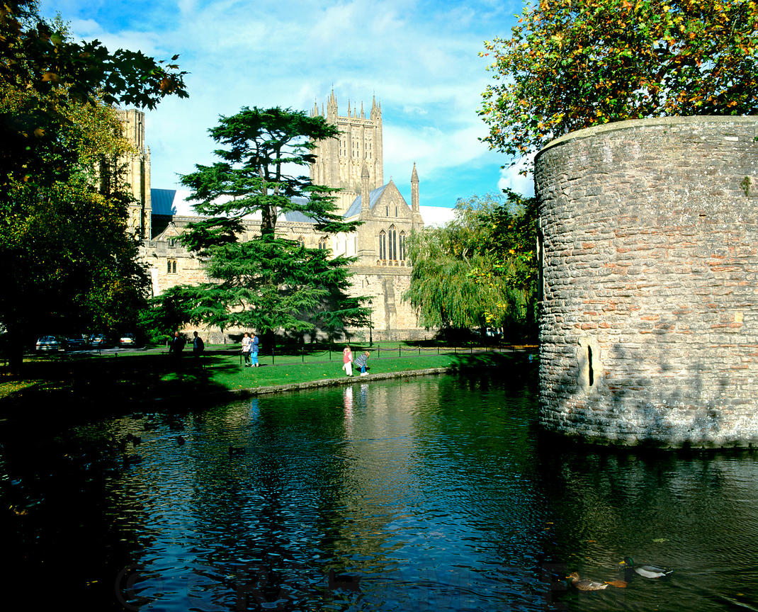 Wells Cathedral and Bishops Palace Moat, Wells, Somerset.