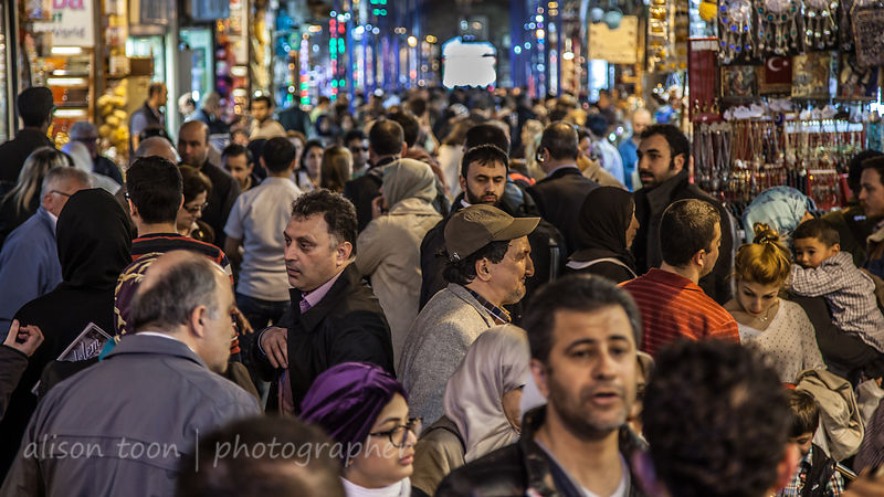 Crowds of shoppers in the spice market, Istanbul