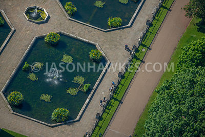 Aerial view of London Italian Water Garden Hyde Park