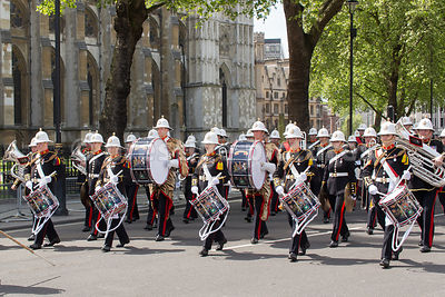 The Band of the Royal Marines Lead the Veterans Parade from Westminster Abbey
