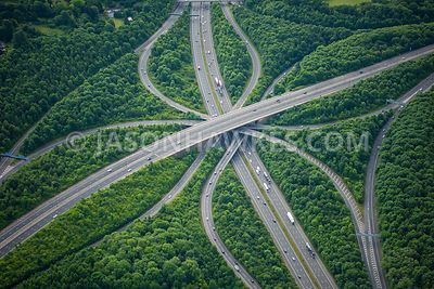 Aerial view of London, Motorway Interchange near Heathrow.