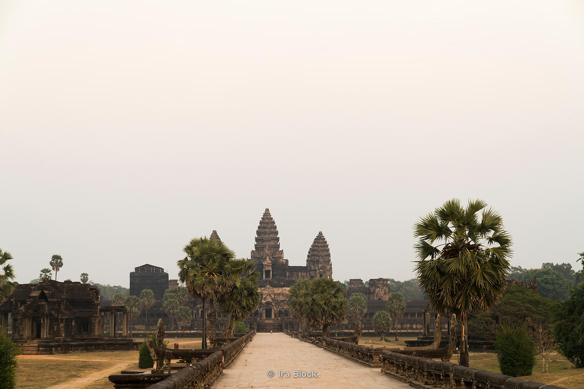 A view of Angkor Wat, built by the Khmer King Suryavarman II in the early 12th century in Siem Reap, Cambodia. It was first a Hindu and later a Buddhist temple.