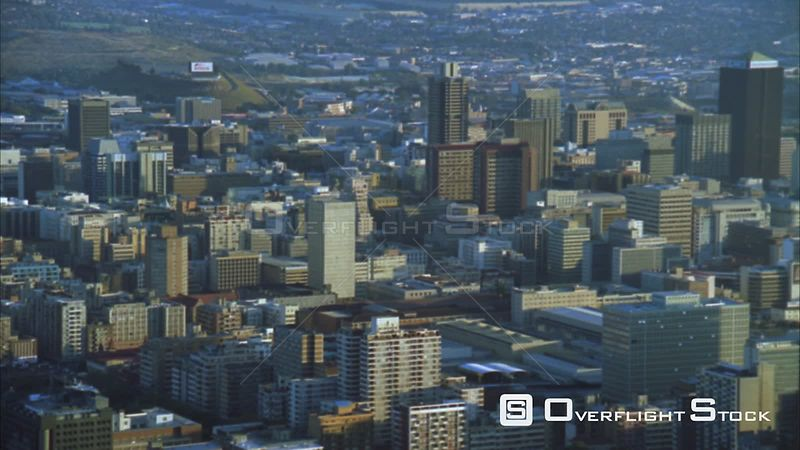 Aerial of the Johannesburg Central Business including the Hillbrow Tower during early morning/evening. Johannesburg Gauteng South Africa