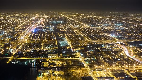 Bird's Eye: Close Up View of Chicago's Urban Light Grids & Snaking Paths of Expressways 3