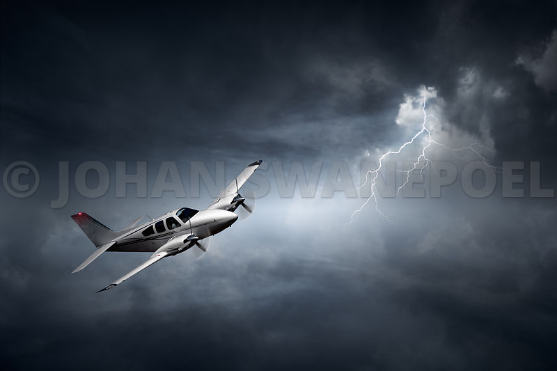 Aeroplane flying in storm (digital artwork)