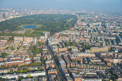 Aerial view of Kensington, London. Kensington High Street, Kensington Gardens, Hyde Park, Kensington Square (London) Kensington Town Hall, Royal Garden Hotel, St Mary Abbots Church, Kensington. London.
