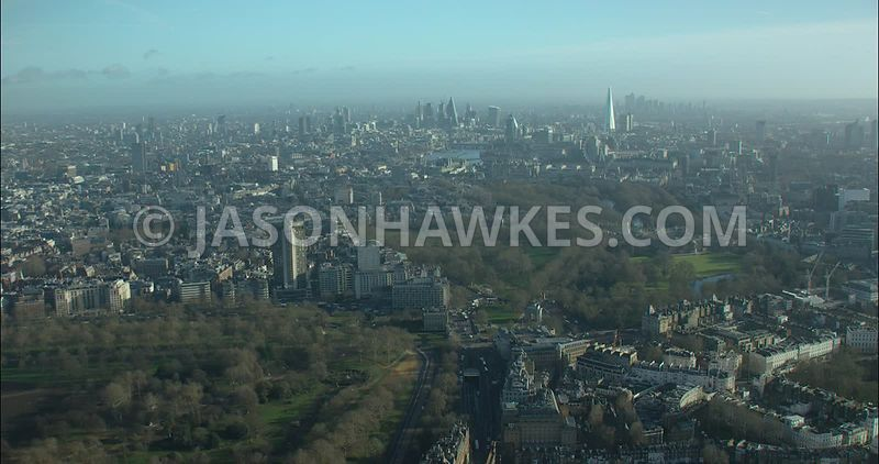 London Aerial footage, Hyde Park with Knightsbridge and Belgravia.