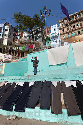 Laundry dries at colorful Lal Ghat, Varanasi, India.