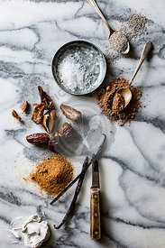 Ingredients for cooking on a marble work surface
