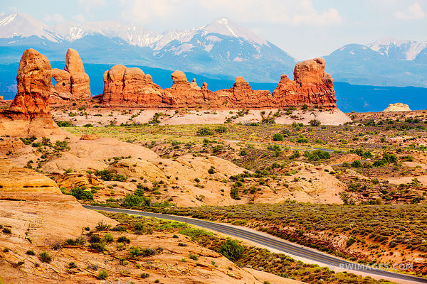 ROAD THROUGH ARCHES NATIONAL PARK UTAH