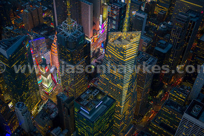 Aerial view of the Bank of America Tower at night