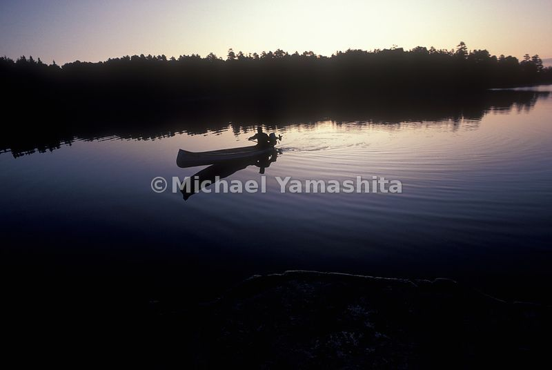 A canoe in the boundry waters between Ely, Minesota and Quetico, Ontario