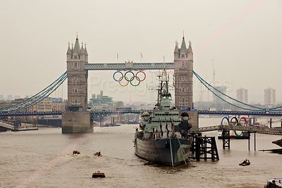 HMS Belfast and Tower Bridge with The Olympic Rings