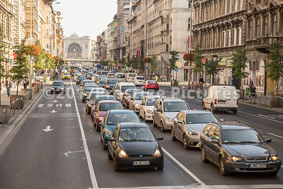 Lines of Rush Hour Traffic Budapest