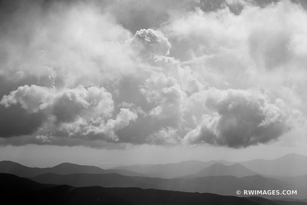 CLOUDS MOUNTAIN RANGE WHITE MOUNTAINS NEW HAMPSHIRE BLACK AND WHITE