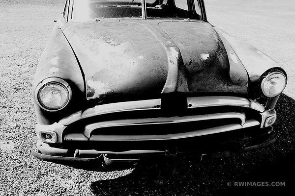 ROUTE 66 CAR BLACK AND WHITE