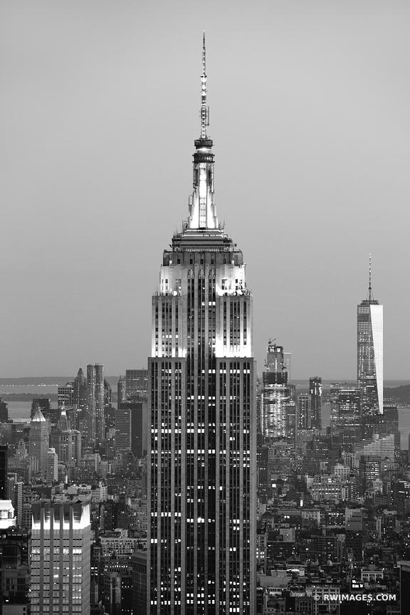 Empire state building manhattan skyline new york city black and white vertical