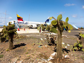 The AeroGal airplane parked at the Baltra Airport in the Galapagos, Ecuador.