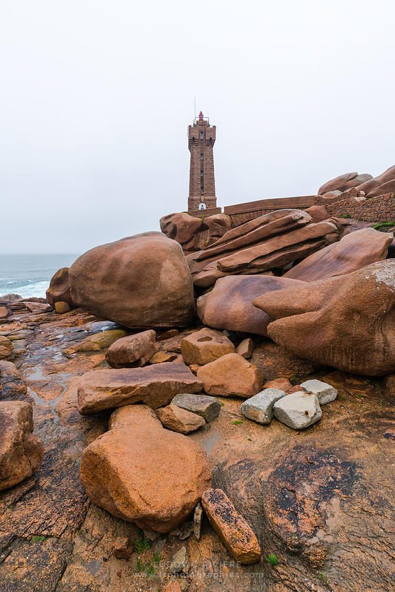The lighthouse at Ploumanach on the Cote de Granite Rose in the