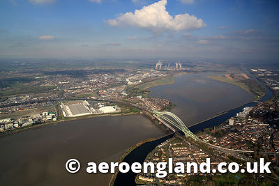 aerial photograph of  the River Mersey at  Runcorn Bridge  Cheshire England UK
